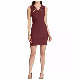 GUESS Wine Bodycon Dress size 8 Gold detail